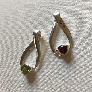 Sterling Silver Slide Pendant - Peridot or Garnet